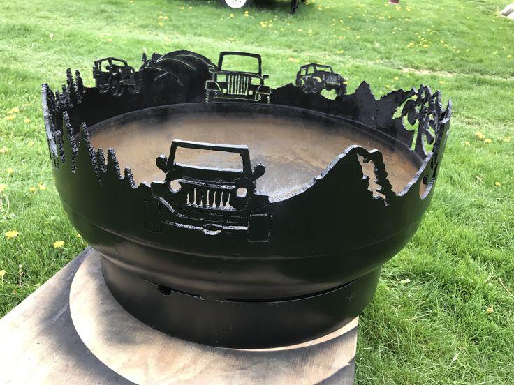 jeep fire pit 550 30 inch across 14 steel  Metal art  Metal fire pit Diy fire pit Cool