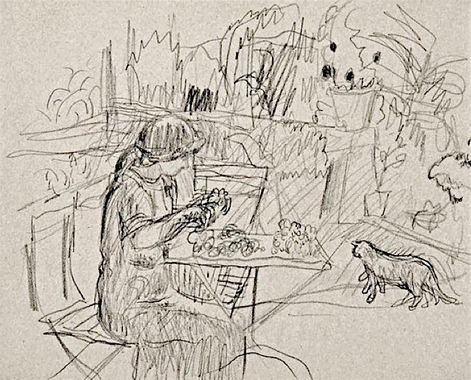 Pierre Bonnard / Femme assise au jardin, drawing