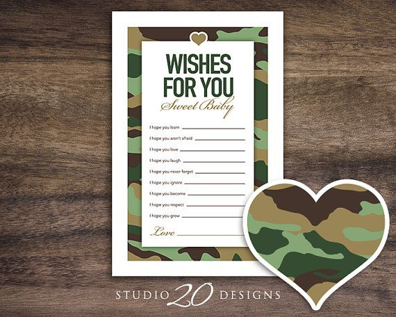 """Instant Download Green Camo Baby Shower Games by Studio20Designs """"Camo Wishes for Baby."""" TO PLAY: This printable baby shower game comes 2-up on an 8.5""""x11"""" sheet for easy printing. Guests write down their wishes for the future of the new baby. Great keepsakes for the new mom-to-be!"""