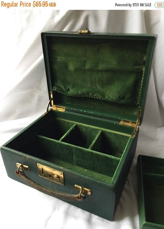 Vintage Green Velvet jewellery Box Jewelry Casket  Leather trimmed  monogrammed travel case by Birks by StudioVintage on Etsy
