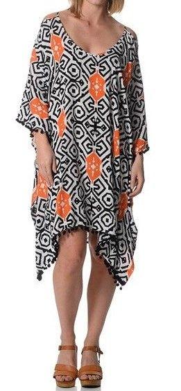 Black & Orange Kaftan with Pom Pom Trim   $29  size sml-med