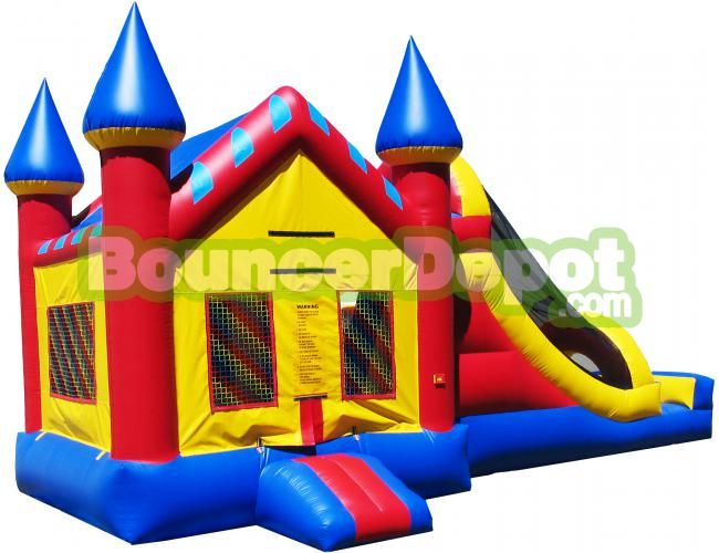 Combo Castle Moonbounce - Bounce Houses at BouncerDepot Make any party or event memorable with the Combo Castle Moonbounce. It has a castle theme with a bounce house and large inflatable slide. This commercial bounce house is built to last and comes with the three-year warranty. It's Great for party, get-together and event companies.