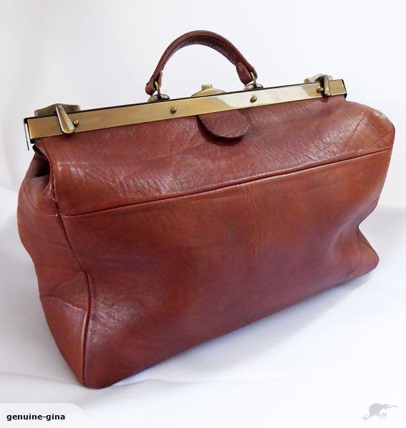 Near new genuine leather Gladstone bag