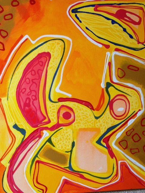 """Yellow River"" by Marsha Plafkin. Acrylic on Canvas"