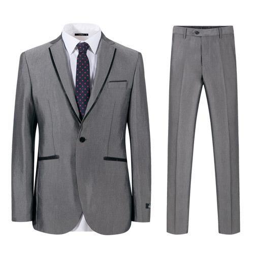 Men Suits Slim Fit Grey High Quality Business Wedding Suit Tuxedos Jacket   Pants
