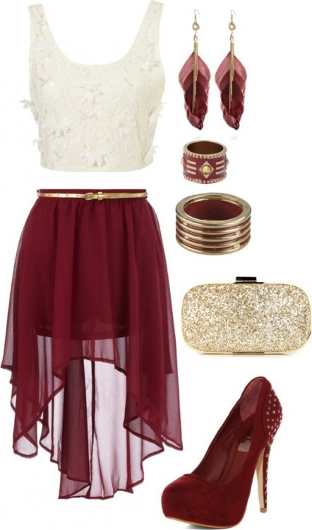 Great burgundy and gold outfit