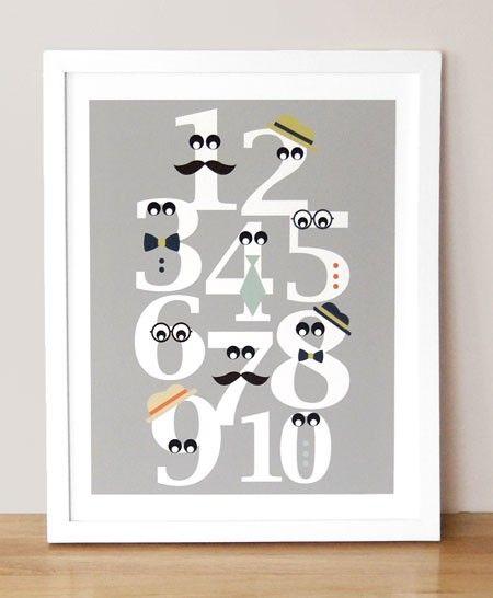 Mustache numbers= awesome! (fun nursery or little boys room art idea)