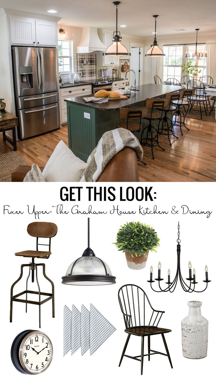 Chic drum pendant with what is shiplap and dining room set also - Get This Look Fixer Upper Graham House Kitchen And Dining Room