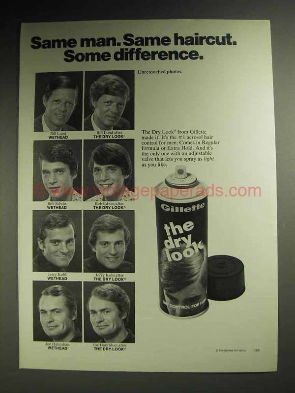 1973 Gillette The Dry Look Hair Spray Ad Bill Lund