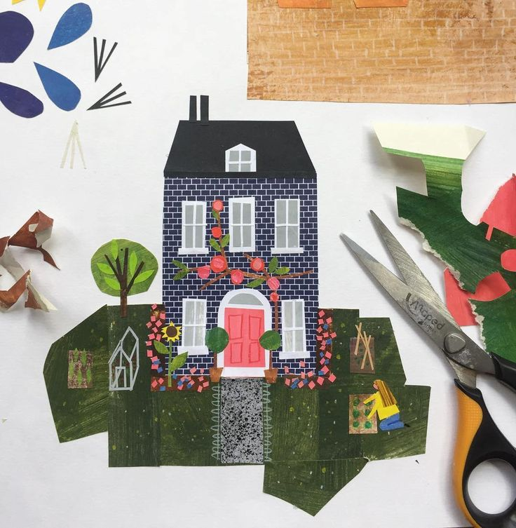 house and garden  -  Collage sketchbook by Clover Robin, artist