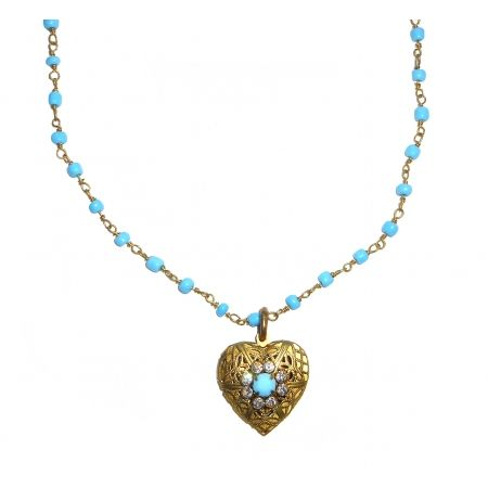 Necklace Sautoir                                     Rosary turquoise chain  Filigree brass heart  Swarovski Crystals www,federicasalvatorifranchi.it