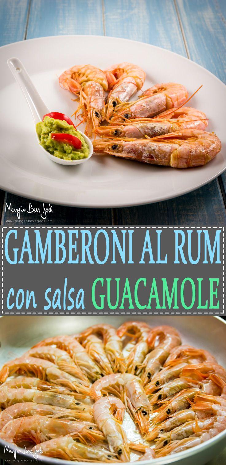 Gamberoni al rum con salsa guacamole