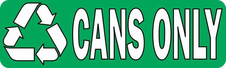 10in x 3in Cans Only Permanent Vinyl Sticker | StickerTalk®