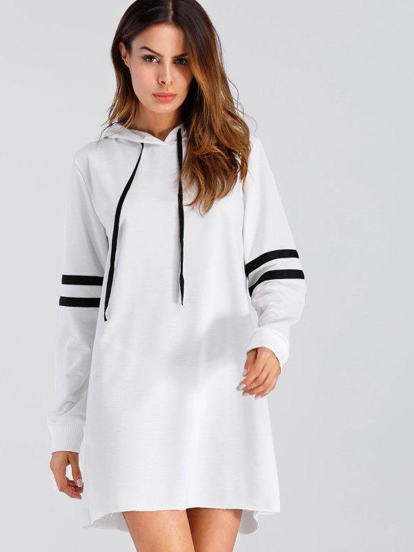 2264a0fb194 Varsity Striped Hoodie Dress -SheIn(Sheinside) . Pullover hoodie ...
