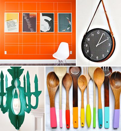 Orange wall by Milo  Belted wall clock at Remodelista  Cardboard chandelier by Kayte Terry at the Etsy blog  Painted spoons from Little Bit Funky