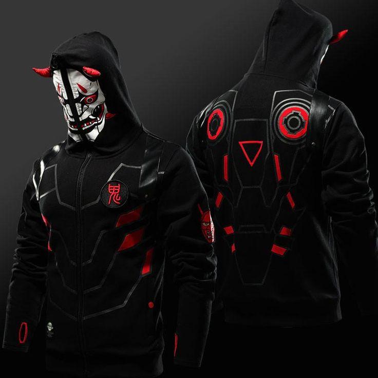 Overwatch Genji Zip Face Hoodie Oni Skin