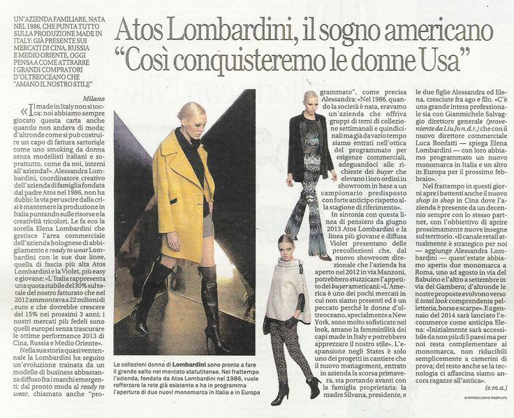 LA REPUBBLICA AFFARI & FINANZA Italia - November 18th 2013 _ Pag. 44: Brand review & news for #AtosLombardini.