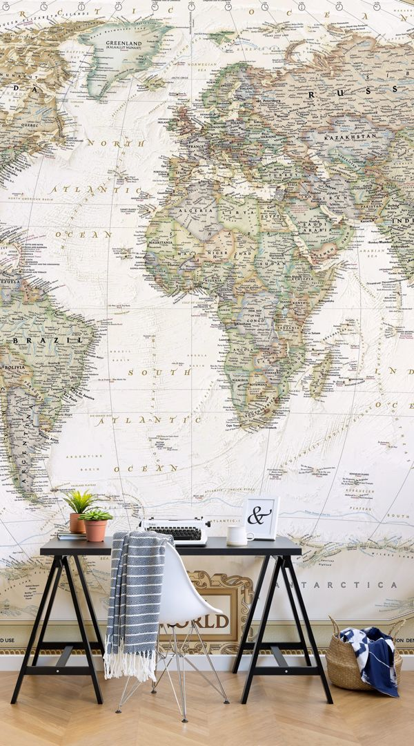 Traditional Old Style World Map Wall Mural In 2020 World Map