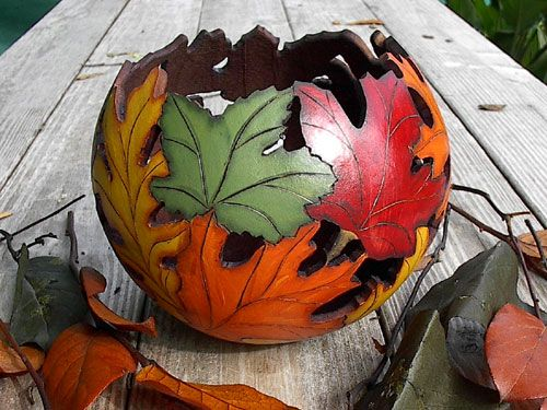 What to do with Ornamental Gourds - Gourd Leaf Bowl