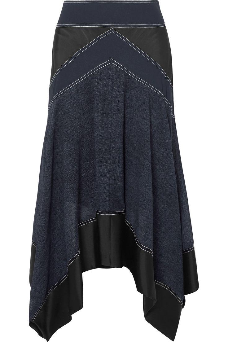 Diane von Furstenberg | Asymmetric paneled crepe, satin and voile skirt | NET-A-PORTER.COM