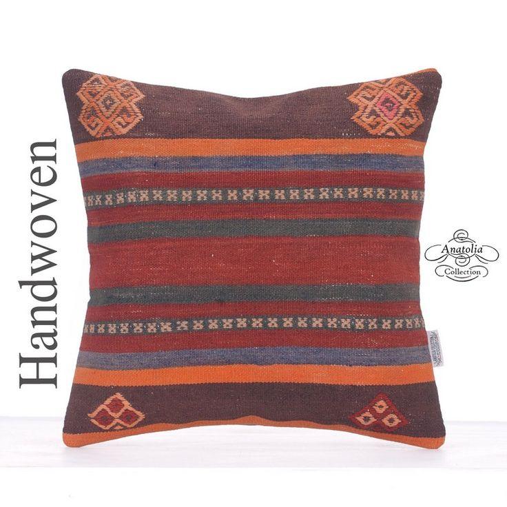 Vintage Striped Pillow Kilim Rug Pillow Tribal Decorative Sofa Throw