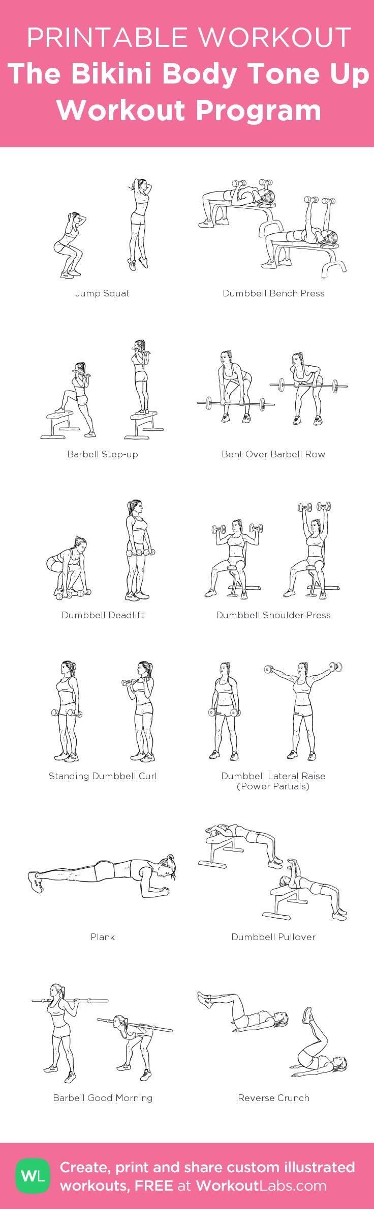 The Bikini Body Tone Up Workout Program:my custom printable workout by @WorkoutLabs #workoutlabs #customworkout