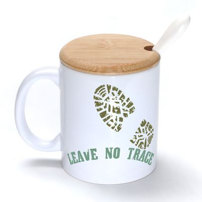 Leave no trace Mug Coffee Milk Ceramic Cup Creative DIY Gifts Mugs 11oz With Bamboo cover lid Spoon S194