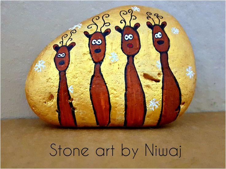 Reindeer Rudolph and friends. Painted stone.  15eur. #stoneartbyniwaj #santa #raindeer #rudolph #stone #rock #peables #stoneart