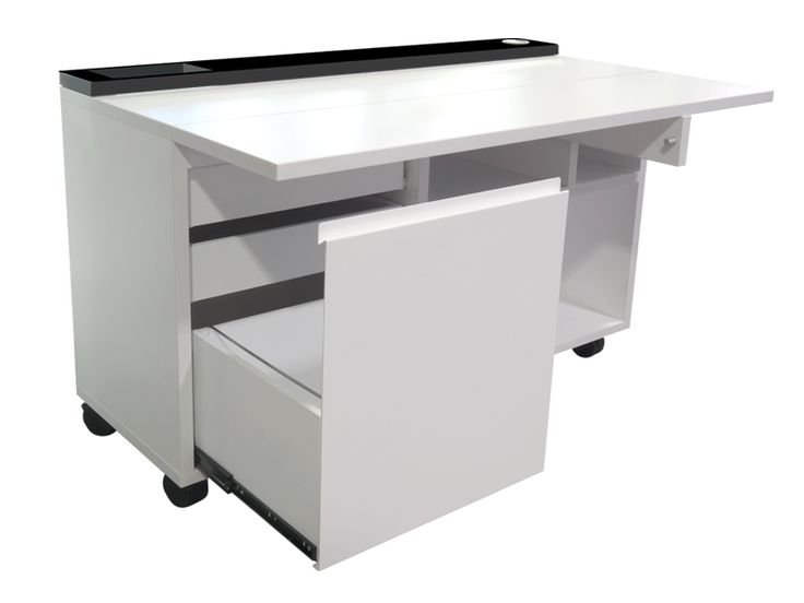 The CD workstation. This compact desk fold up when not in use, and comes complete with a hidden filing cabinet, stationary drawers and room for folders and books. Designed and made in Melbourne www.aerodesigns.com.au