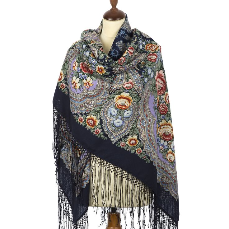FREE SHIPPING. Russian shawls and scarves store. Russian shawl Summer in Pavlovo 862-15. Traditional Russian clothing from Pavlovo Posad.