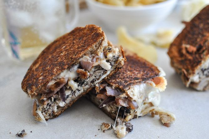 Double Bean Burger Patty Melts - Vegan w/ egg replacer (or flax eggs), Daiya, and Earth Balance