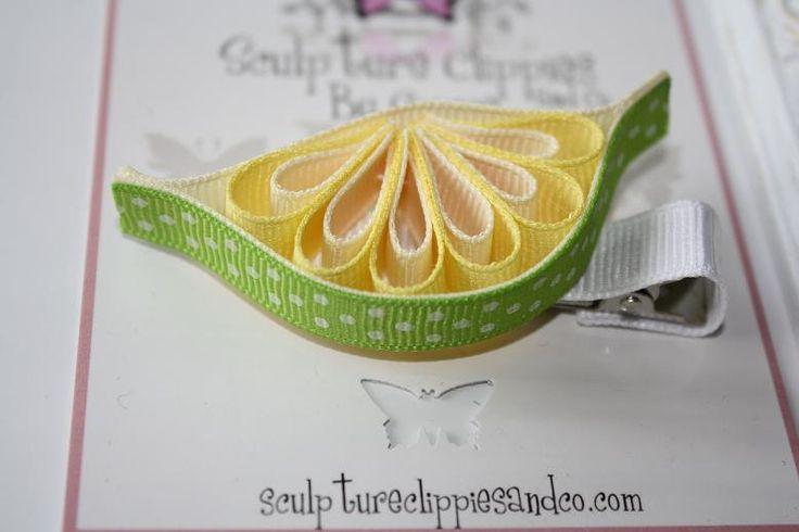 Sculpture Clippies' Exclusive Design.  Citrus Lime Fruit Sculpture Ribbon Hair Clip.  Summer Spring Orange Fruit Bow. Free Ship Promo.. $5.00, via Etsy.