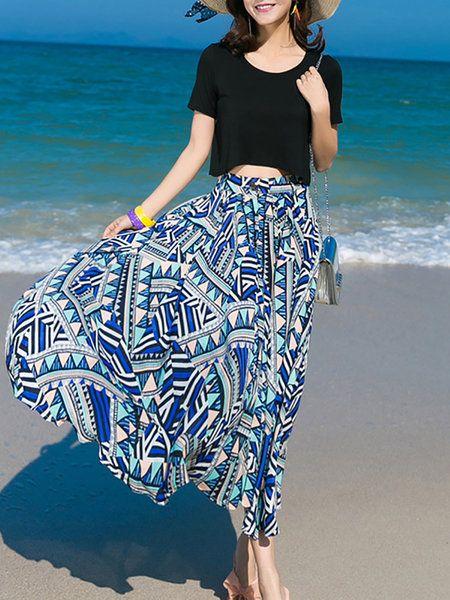MULTIFLORA - Black Geometric Asymmetric Short Sleeve Midi Dress