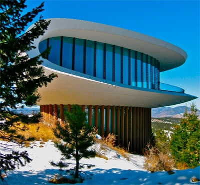 """Sculptured House, 1963, Colorado, by Charles Deaton, American.  I saw this house featured in Woody Allen's movie """"Sleeper,"""" when I was in 8th grade.  The movie was hysterical, & the house was sublime."""