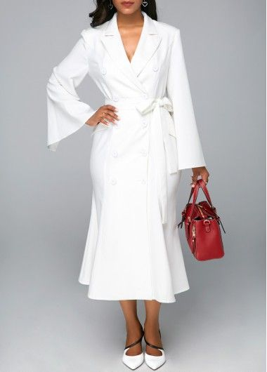 e9c922ca003 White Belted Slit Sleeve Button Detail Midi Dress
