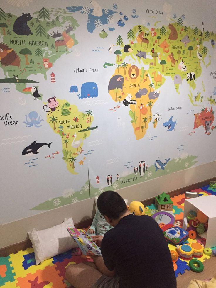Çocuk Odası için Hayvanlar Alemi Dünya Haritası Duvar Kağıdı Modeli