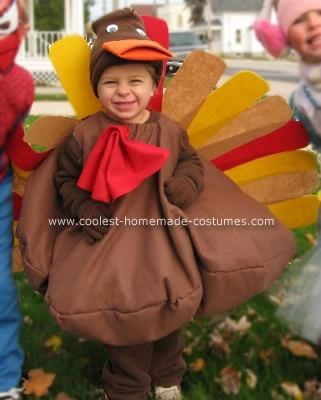 Homemade Turkey Costume: When my 2-year old son came up with the creative idea of a Turkey Costume, I did my best to bring his idea to life. It was inexpensive and simple- and