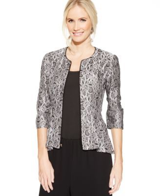 Flaunt your modern style with this glamorous lace jacket crafted in a peplum silhouette. | Rayon/nylon/metallic; lining: polyester | Hand wash | Imported | Front zipper | Three-quarter sleeves | Allov