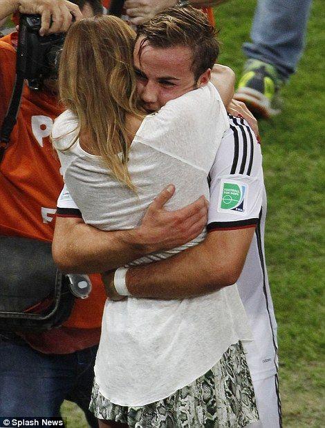 Hug for a hero: Ann-Kathrin Brommel hugs his hero Mario Goetz