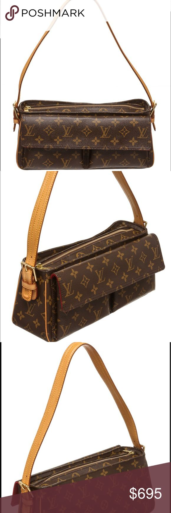 Louis Vuitton Monogram Cite MM Shoulder Bag Brown and tan monogram Louis Vuitton Cite MM with brass hardware, tan vachetta leather trim, dual flat shoulder straps, exterior zip pocket at front, brown canvas lining, three pockets at interior wall and two-way zip closures at top.  863 RC Louis Vuitton Bags Shoulder Bags