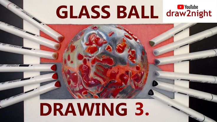 How to draw shiny colored glass ball 3 drawing tutorial