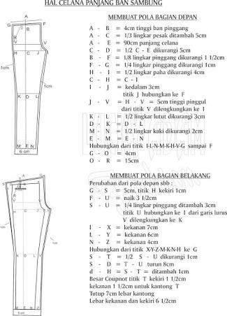 Hasil gambar untuk pola celana wanita