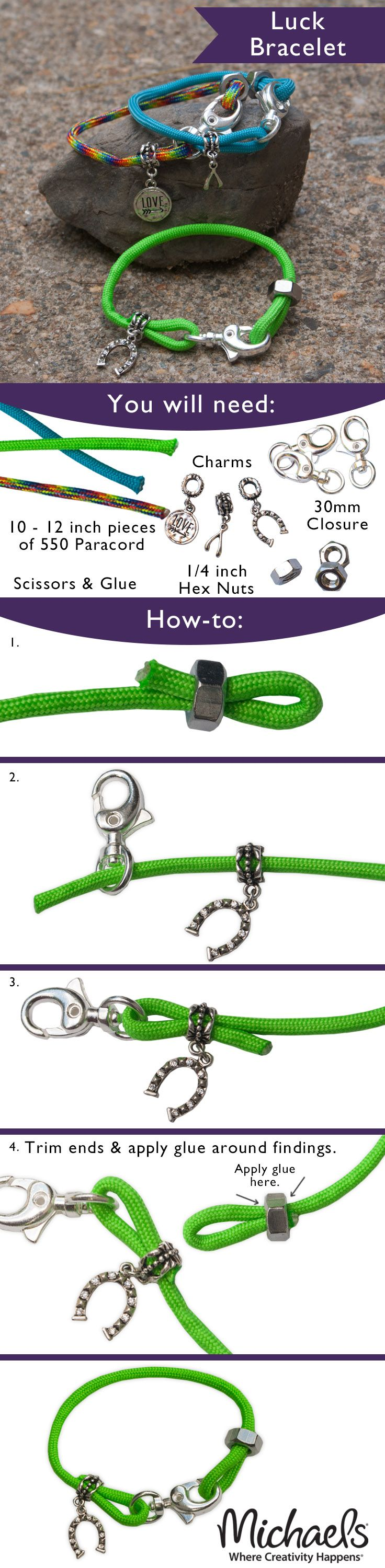 These DIY Paracord Luck Bracelets are so easy to make, you can create them in several colors to stack