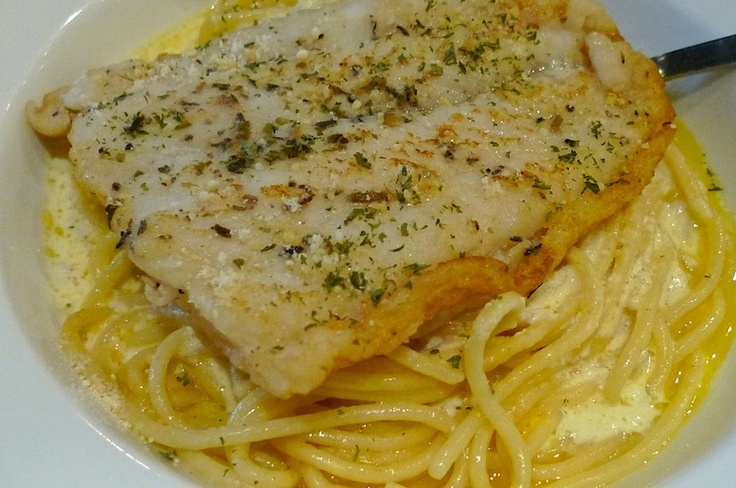 Dory fish with sour cream spaghetti. Drooling ....