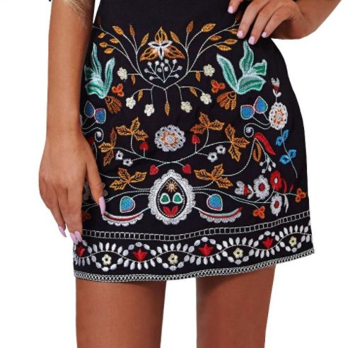 Embroidered Floral Black Skirt – Girl Heaven