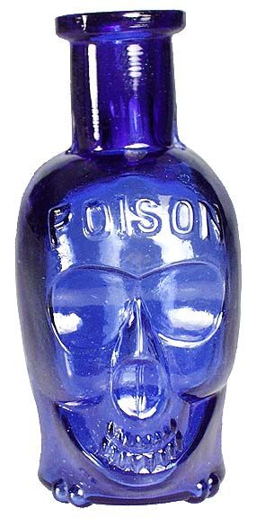 "The very rare 3 ½"" 'middle' size skull poison (they come in 3 sizes - small one below). Embossed POISON on the forehead, and PAT APPL'D FOR on the back label panel near the base. Deep cobalt blue color, with embossed crossbones across the base (this is the non-lettered base variant), and has a tooled lip. Sold by James Hagenbuch."