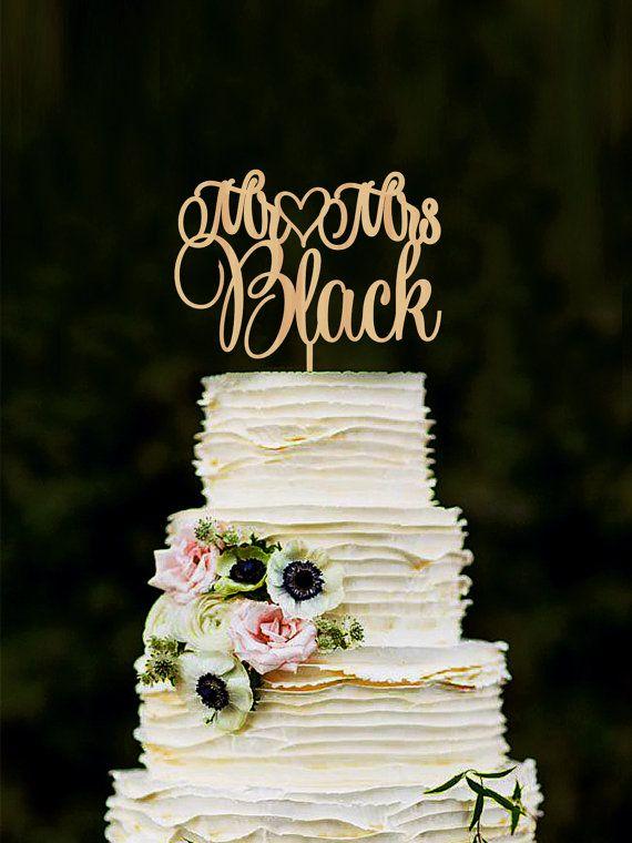 Mr Mrs Wedding Cake Topper Custom Last Name by WeddingRusticDeco