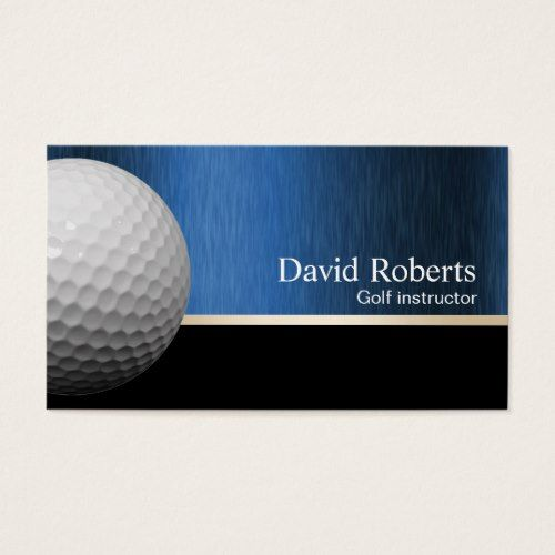 Golf Instructor Professional Black & Blue Business Card