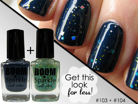 Galaxy nail art polish set - matte and glitter combo - gorgeous!