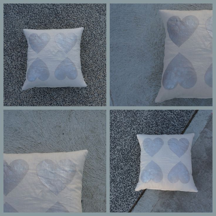 NEW! 'Hearts of Silver' cushion, ➕one industrial collection; individually hand painted: eco friendly water based metallic paint : 100% linen: limited edition Hand-painted and handmade by Claire Webber,mHobart, Tasmania webberclaire1@gmail.com